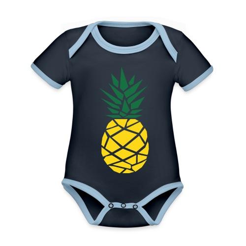 Pineapple - Baby contrasterend bio-rompertje met korte mouwen