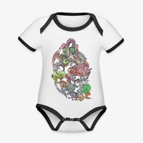 Flower Power - Rough - Ekologisk kontrastfärgad kortärmad babybody