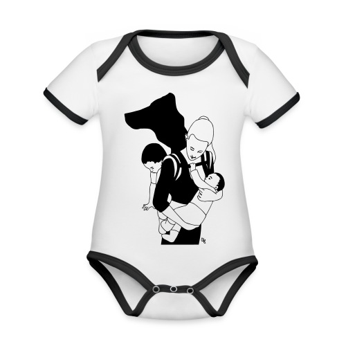 Babycarrying Super Hero Mom 05 - Ekologisk kontrastfärgad kortärmad babybody