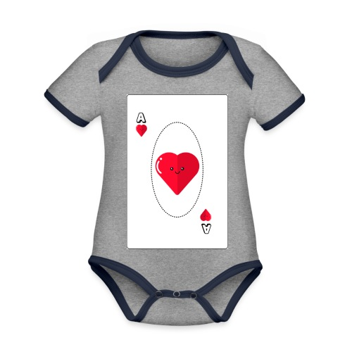 poker heart - Body contraste para bebé de tejido orgánico