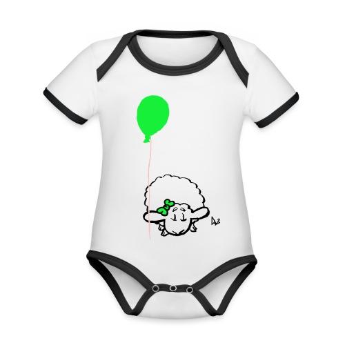 Babylam med ballon (grøn) - Kortærmet økologisk babybody i kontrastfarver