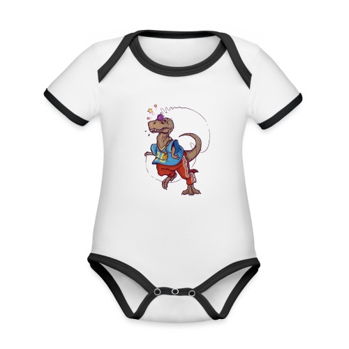 DINO 90 - Ekologiczne body niemowlęce z krótkim rękawem i kontrastowymi lamówkami