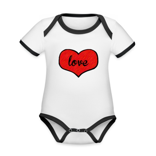 love heart - Organic Baby Contrasting Bodysuit