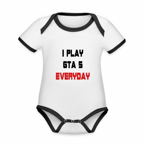 I play GTA 5 Everyday! - Baby contrasterend bio-rompertje met korte mouwen