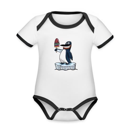 Funny Penguin Icecream Kids Smile: Penguin Ice - Body da neonato a manica corta, ecologico e in contrasto cromatico