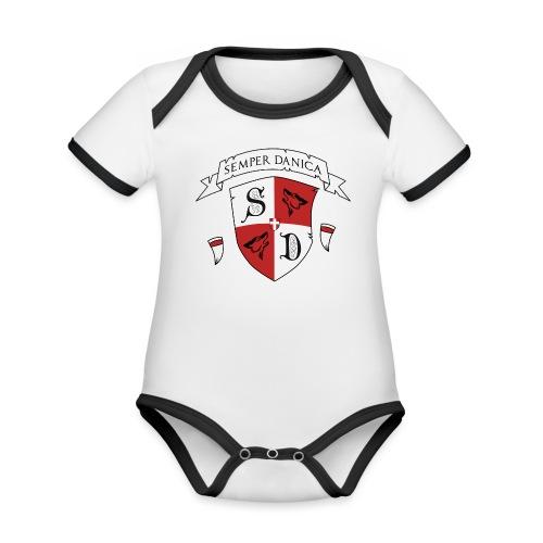 SD logo - hvide lænker - Kortærmet økologisk babybody i kontrastfarver