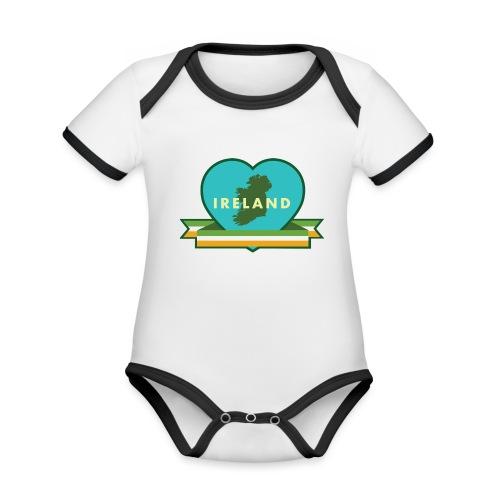 Ireland Love Heart 1 - Organic Baby Contrasting Bodysuit