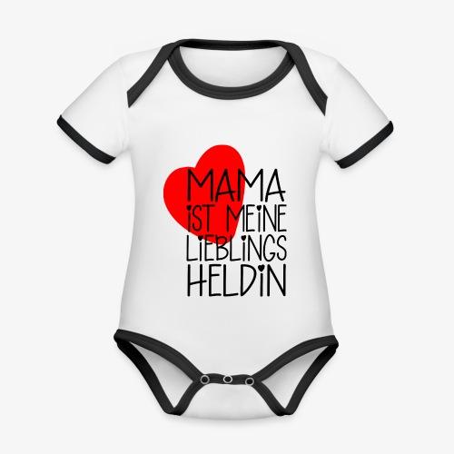 Mama Lieblings Heldin Geschenkidee - Baby Bio-Kurzarm-Kontrastbody