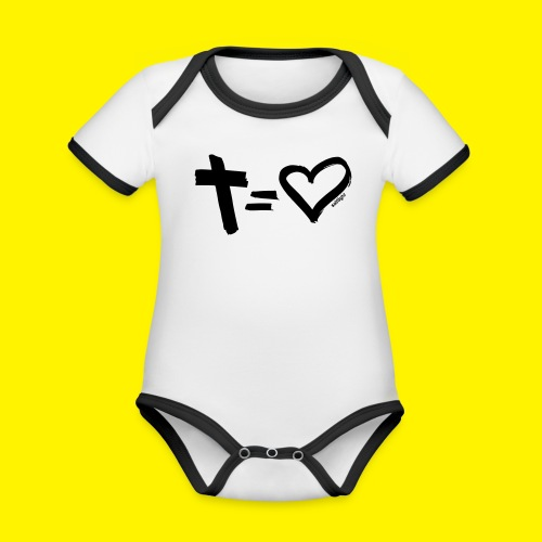 Cross = Heart BLACK - Organic Baby Contrasting Bodysuit