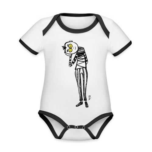 Punto di Vista - Body da neonato a manica corta, ecologico e in contrasto cromatico