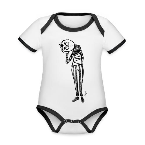 Point de vue en noir et blanc - Body da neonato a manica corta, ecologico e in contrasto cromatico
