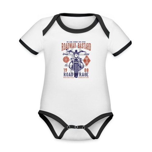 Roadway Bastard - Baby contrasterend bio-rompertje met korte mouwen