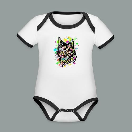 Bunte Katze - Baby Bio-Kurzarm-Kontrastbody