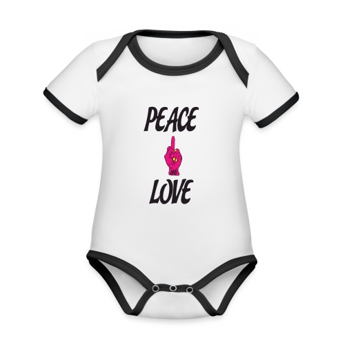 PEACE AND LOVE - Body da neonato a manica corta, ecologico e in contrasto cromatico