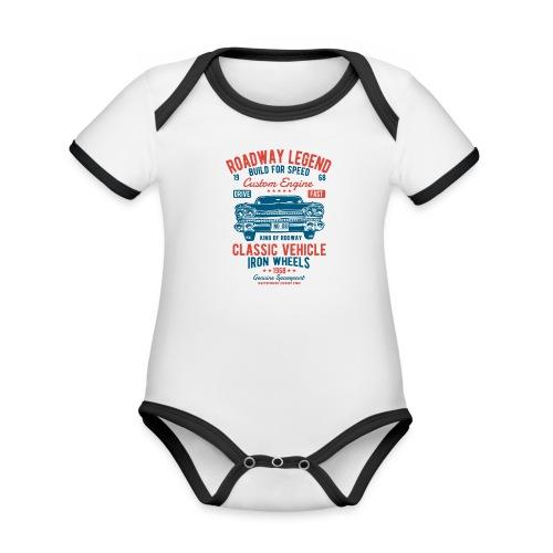 Roadway Legend - Baby contrasterend bio-rompertje met korte mouwen