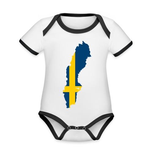 Sweden - Baby contrasterend bio-rompertje met korte mouwen