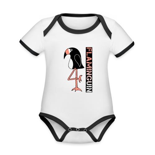 Pinguin Flamingo Flaminguin - Baby Bio-Kurzarm-Kontrastbody