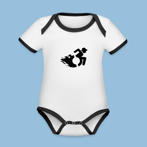 WheelChairmanflames2 - Baby contrasterend bio-rompertje met korte mouwen