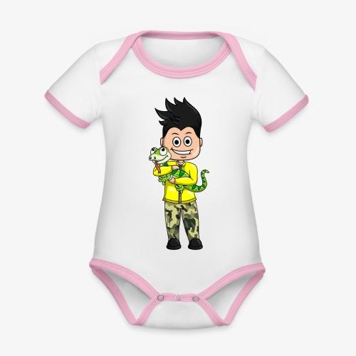 Tomu och ödlan - Ekologisk kontrastfärgad kortärmad babybody