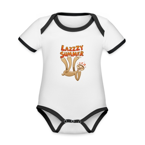 Sleepy sloth yawning and enjoying a lazy summer - Organic Baby Contrasting Bodysuit