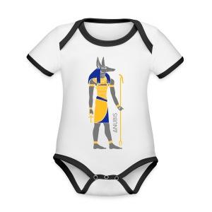 Der altägyptische Gott Anubis - Baby Bio-Kurzarm-Kontrastbody
