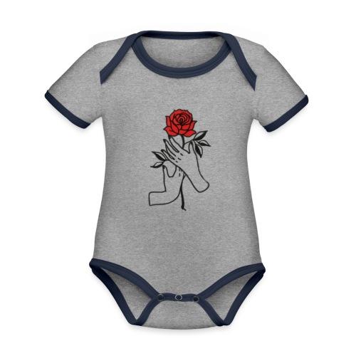 Fiore rosso - Body da neonato a manica corta, ecologico e in contrasto cromatico