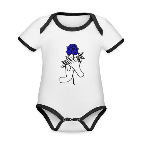 Fiore blu - Body da neonato a manica corta, ecologico e in contrasto cromatico