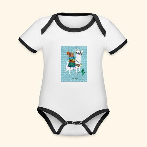 Lama Gang - Baby Bio-Kurzarm-Kontrastbody