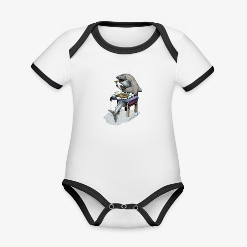 Shark's Fish and Chip dinner - Organic Baby Contrasting Bodysuit