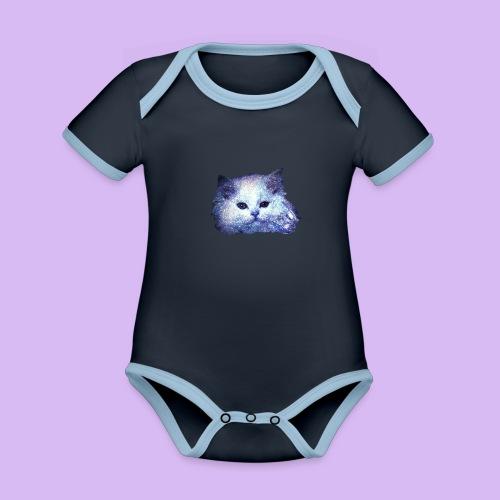 Gatto glitter - Body da neonato a manica corta, ecologico e in contrasto cromatico
