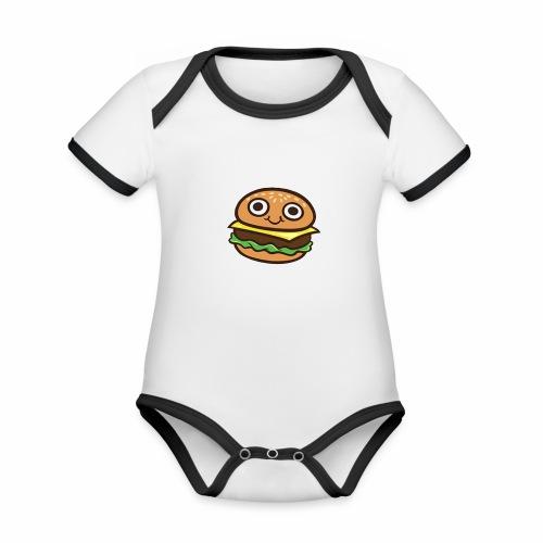 Burger Cartoon - Baby contrasterend bio-rompertje met korte mouwen
