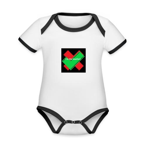 i am the real teacher - KoTi logolines - Baby contrasterend bio-rompertje met korte mouwen