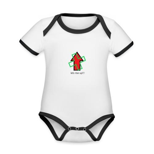 lets rise up!! - KoTi logolines - Baby contrasterend bio-rompertje met korte mouwen