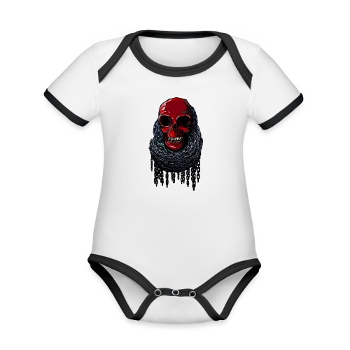 RED Skull in Chains - Organic Baby Contrasting Bodysuit