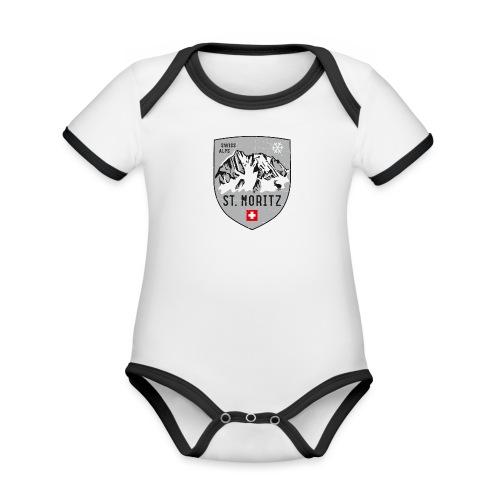 St. Moritz coat of arms - Organic Baby Contrasting Bodysuit