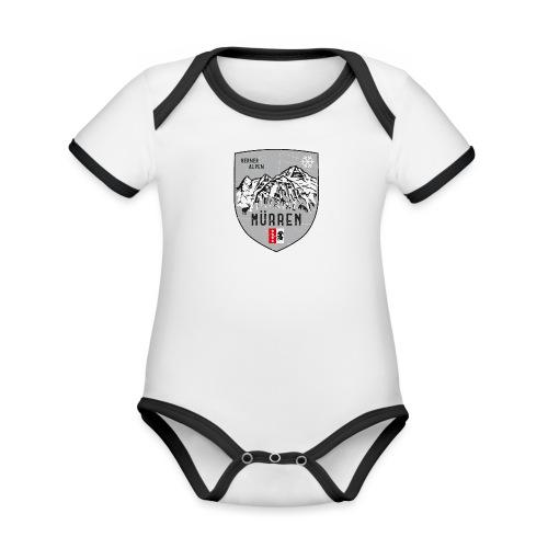 Eiger, Mönch und Jungfrau mit Mürren Flagge - Organic Baby Contrasting Bodysuit