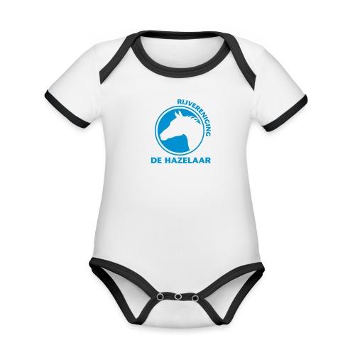 LgHazelaarPantoneReflexBl - Baby contrasterend bio-rompertje met korte mouwen