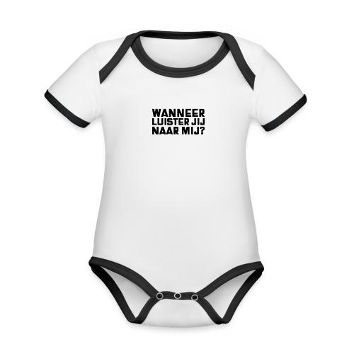 WANNEER LUISTER JIJ NAAR MIJ - Baby contrasterend bio-rompertje met korte mouwen