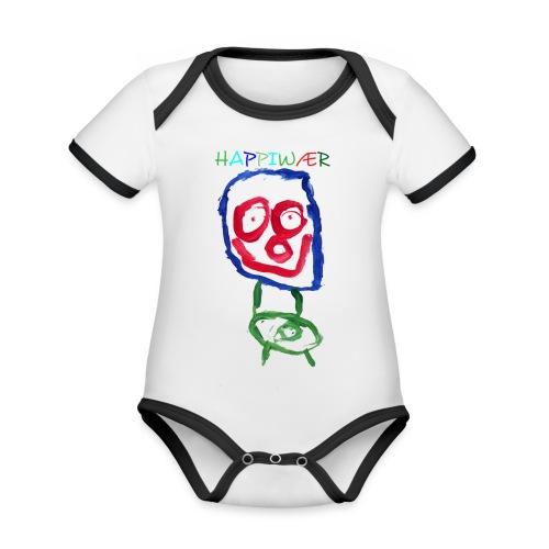 happiwær2 - Kortærmet økologisk babybody i kontrastfarver
