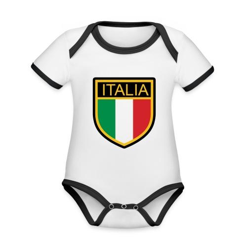 SCUDETTO ITALIA CALCIO - Body da neonato a manica corta, ecologico e in contrasto cromatico