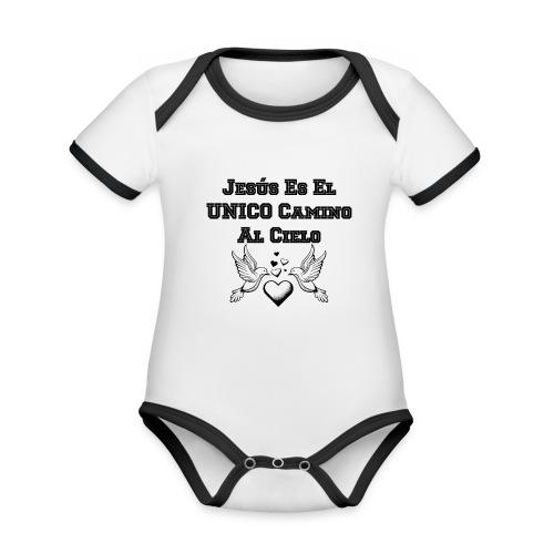 Jesus Unico camino al cielo - Body contraste para bebé de tejido orgánico