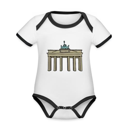 Brama Brandenburska BERLIN c - Ekologiczne body niemowlęce z krótkim rękawem i kontrastowymi lamówkami