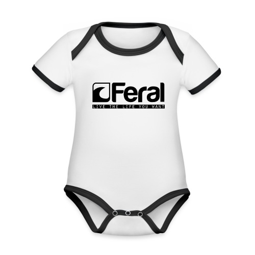 Feral Surf - Live the Life - Black - Organic Baby Contrasting Bodysuit