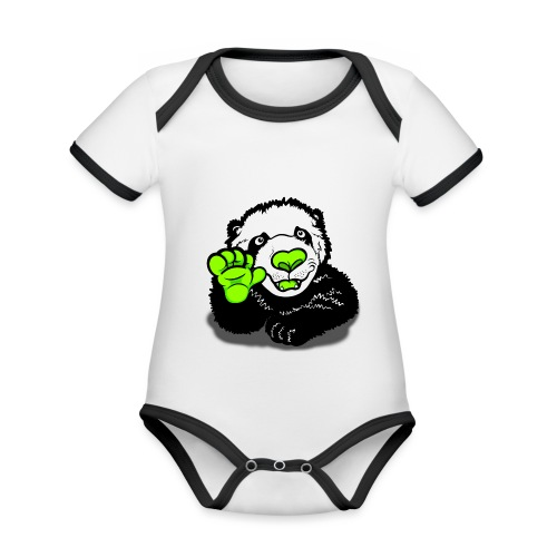 Waving Happy Panda Lime - Organic Baby Contrasting Bodysuit
