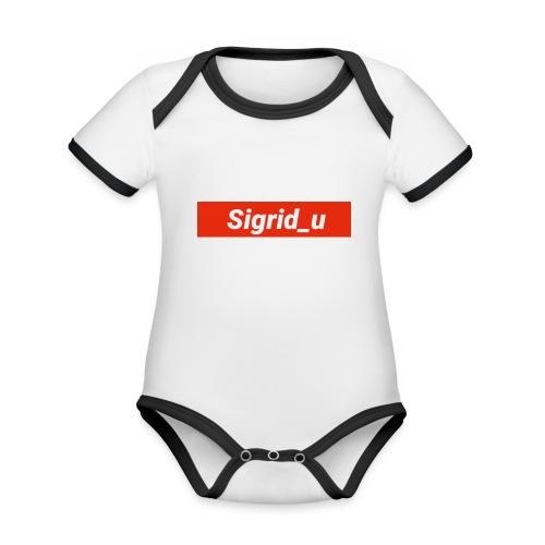 Sigrid_uBoxLogo - Økologisk kortermet kontrast-babybody