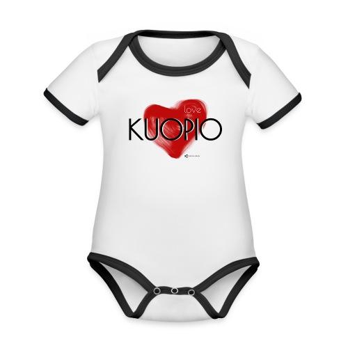 Love Kuopio teksti keskellä - Vauvan kontrastivärinen, lyhythihainen luomu-body