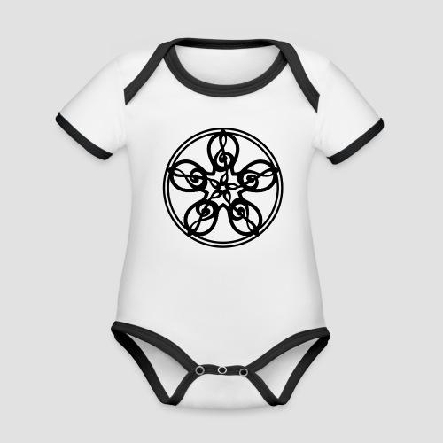 Treble Clef Mandala (black) - Organic Baby Contrasting Bodysuit