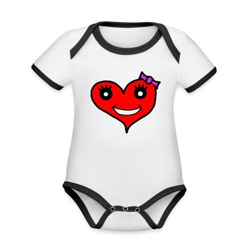 Herz Smiley Schlaufe - Baby Bio-Kurzarm-Kontrastbody