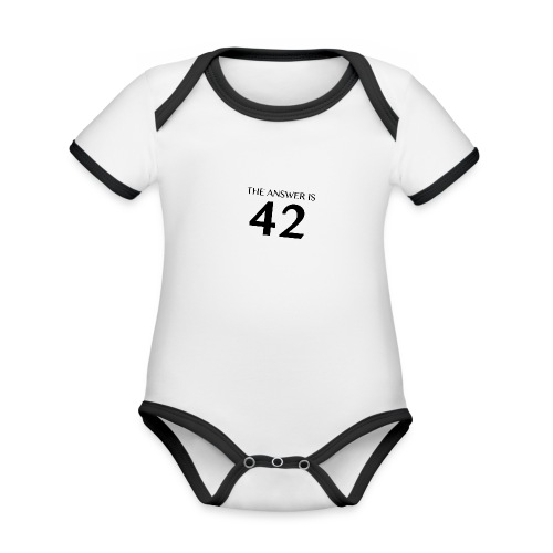 The Answer is 42 Black - Organic Baby Contrasting Bodysuit