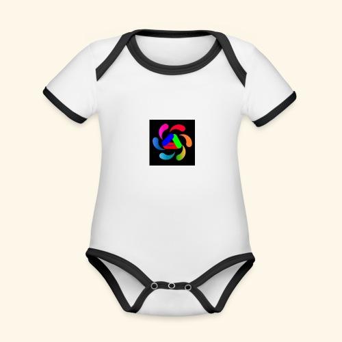 logo - Body da neonato a manica corta, ecologico e in contrasto cromatico